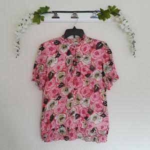 dressbarn sz:L Floral Green/Pink Button Blouse Top
